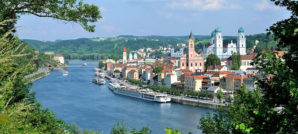 Urlaub im Passauer Land - Blick auf die Dreiflüssestadt Passau